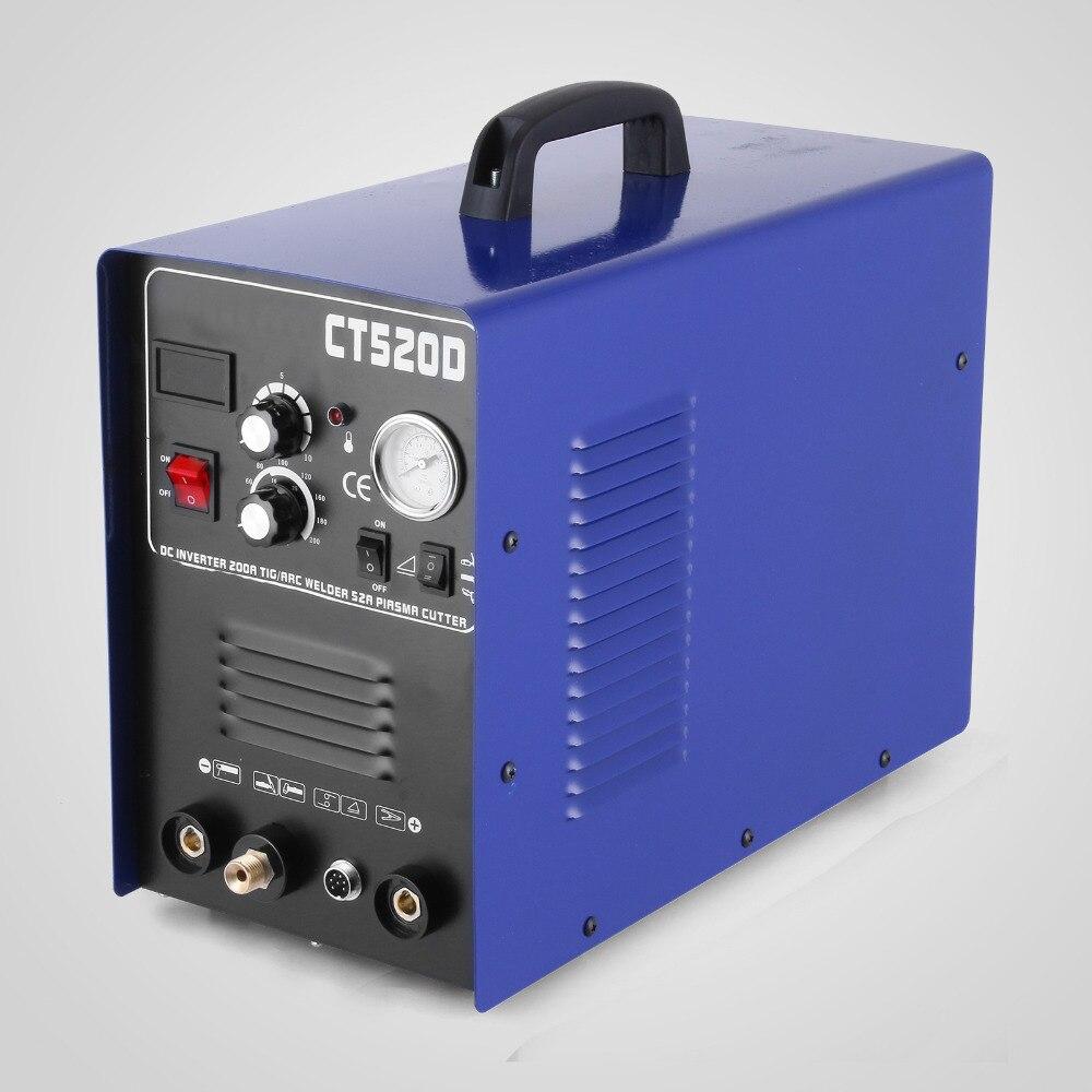 VEVOR CT520D Plasma Cutter Tig Stick Schweißer 3 in 1 Combo Schweißen Maschine, 50Amp Air Plasma Cutter, 200A TIG/Stick Schweißer