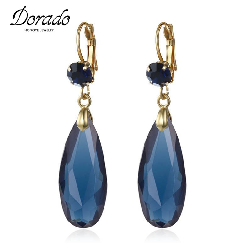 Acrylic Water Drop Long Earrings For Women Girls Gold Color Alloy Female Dangle Hanging Earring Fashion Ear Jewelry Brincos