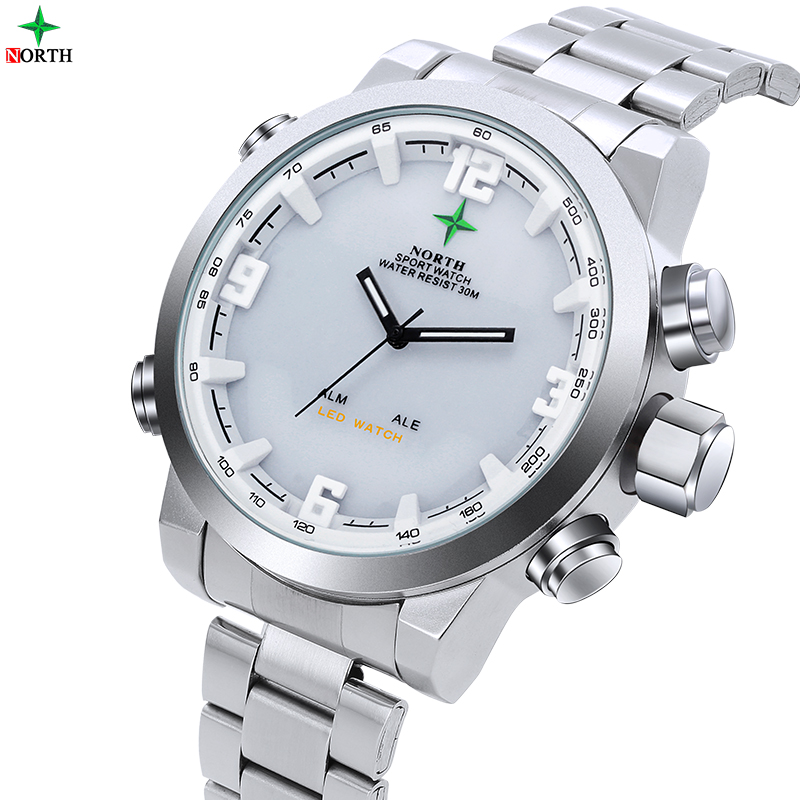 Male Sports Watch Analog Digital-watch LED Stainless Steel Outdoor Wristwatch Brand Quartz Wrist Military 2016 Men Watch Sport