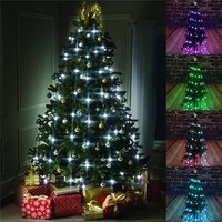 Colorful 64 LED String Light Christmas Tree Fiber Optical LED Holiday Light Ball Bulb Lamp For
