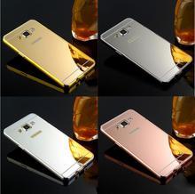 Mirror Case For Samsung Galaxy J5 J7 2015 Case J500 J700 Phone Case Hybird Luxury Gold Plating Aluminum Frame+Acrylic Back Cover