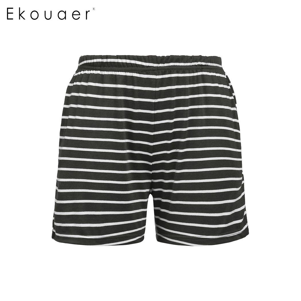 Women sleep bottoms soft nightwear summer elastic waist striped loose shorts sleepwear female homewear short pants s-xxl