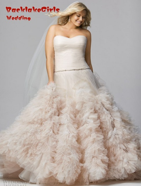 mermaid sweetheart simple plus size ruffles wedding dress blush pink tulle bridal gown with robe de