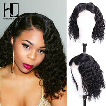 Curly Human Hair Wig Peruvian Bob Wig Short Lace Front Human Hair Wigs For Black Women Pre Plucked With Baby Hair(China)