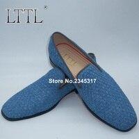 새로운 도착 여름 데님 로퍼 남성 수제 패션 블루 직조 패턴 캐주얼 드레스 신발 미국 6-13 남성 슬리퍼 연회 플랫