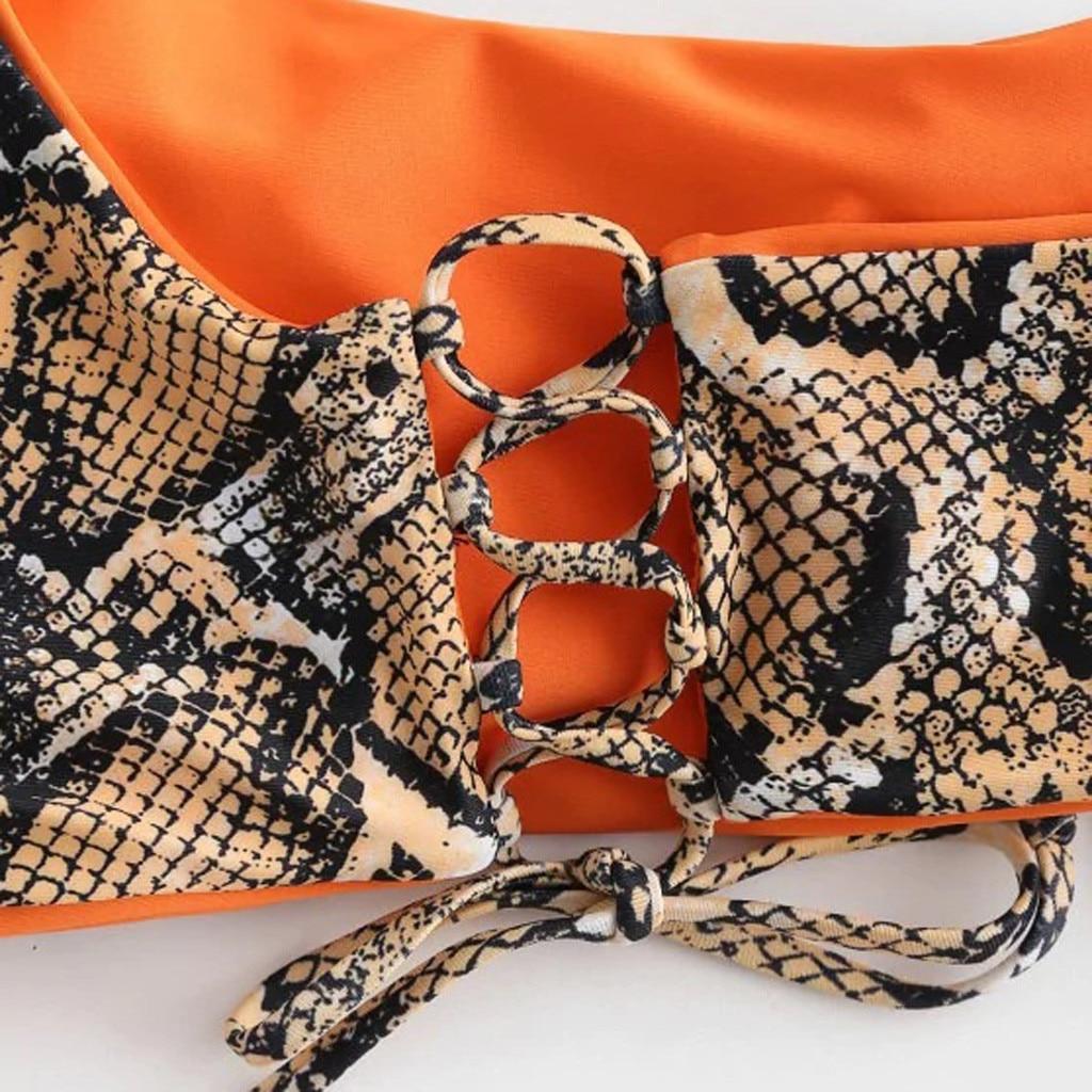 HTB1DrciVYvpK1RjSZFqq6AXUVXaC Swimwear 2019 Snake Women's Two Piece Print Sexy Split Swimsuit Bikini Swimsuit Beachwear Banador