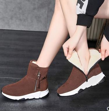 New Fashion Women Boots Snow Boots Sneakers Plush High Top Velvet Cotton Shoes Warm Lace-up Non-slip boots 50