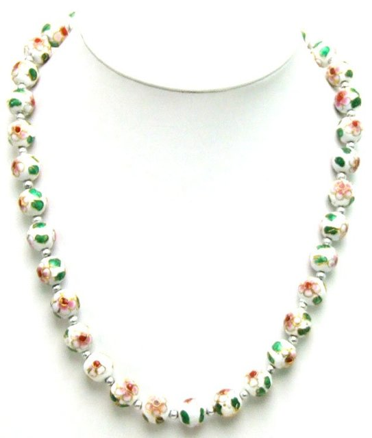 "SALE Big 12mm White Cloisonne Round Beads & Tibetan Silver Beads 20"" necklace-nec5364 Wholesale/retail Free shipping"