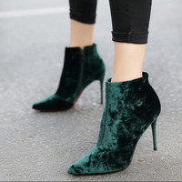 Europe Style Brand Design Women Shoes High Heels Pointed Head Velvet Hell Shoe Green Brown Gray
