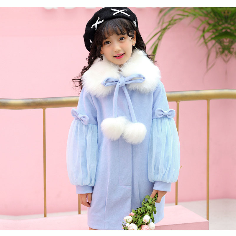 teenage girls winter coat long with fur collar trend coats lantern sleeve winter jackets girls warm pink blue red khaki clothing 3 color red pink blue cherry cardigan coat