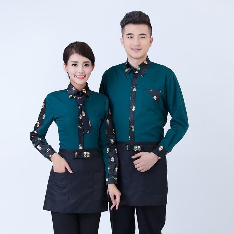 Hotel Overalls Restaurants Tea House Waitress Uniform Hot Pot Shops Catering Long Sleeves High Quality Waiter Work Clothes H2339