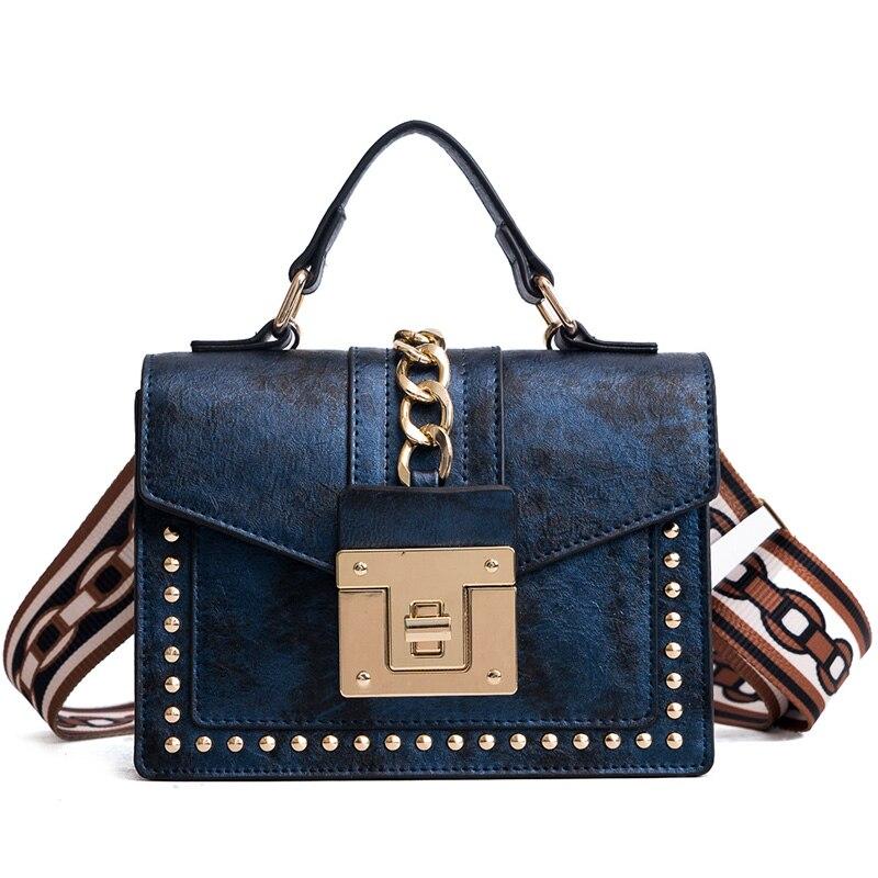 Women Rivet Tote Bag with Colorful Strap Women PU Leather Shoulder Bags Brand Designer Ladies Female Crossbody Messenger Bags
