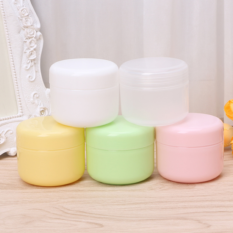 50g/100g Plastic Cosmetic Travel Empty Jars Pots Makeup Cream Lip Balm Container 5Colors