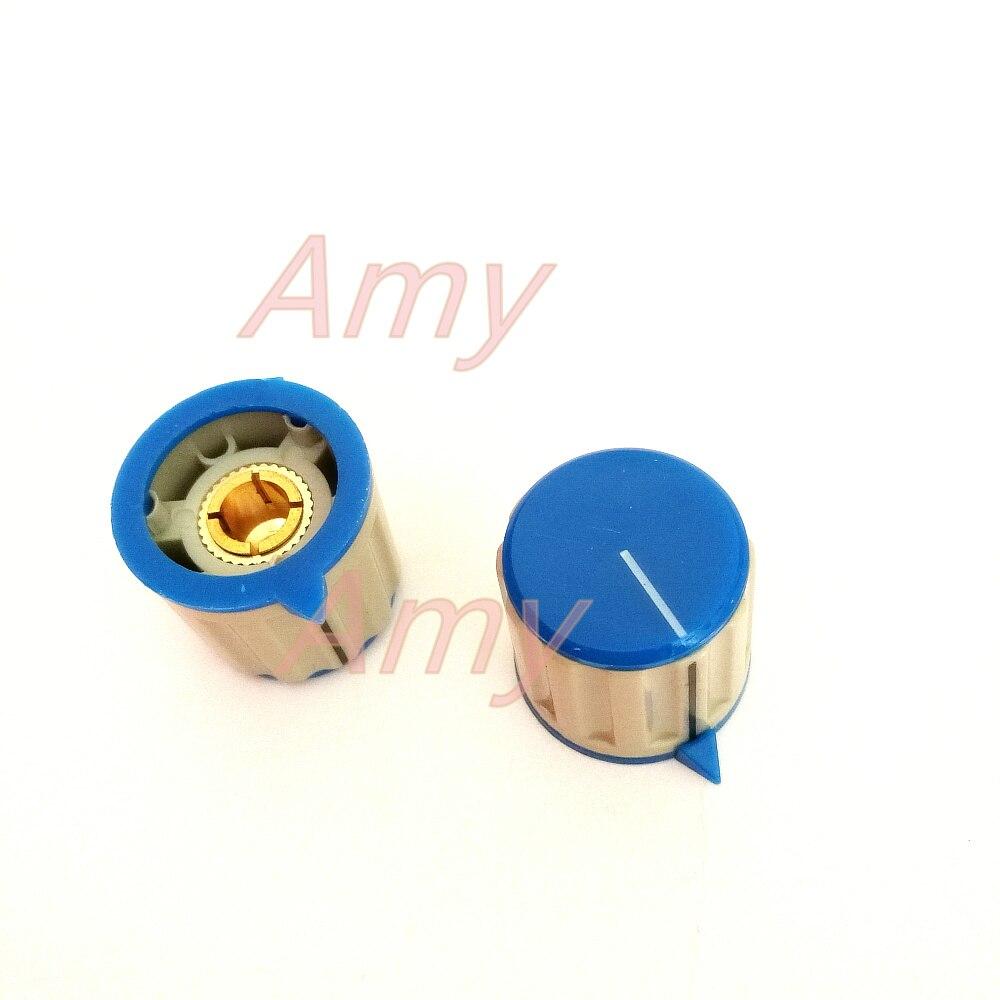 20pcs/lot Lock screw potentiometer knob 20*20MM light gray plastic potentiometer cap with indication 6MM inner hol
