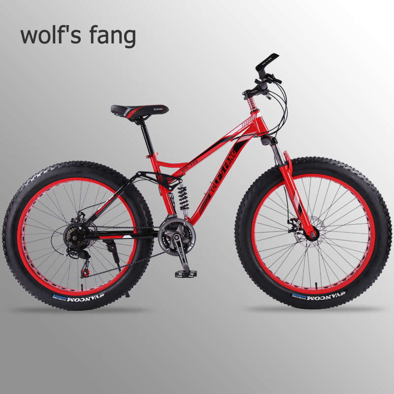 wolf s fang mountain bike 7 21 24 speed bicycle 26x4 0 fat bike Spring Fork wolf's fang mountain bike 7/21/24 speed bicycle 26x4.0 fat bike Spring Fork snow bikes road bike Man Mechanical Disc Brake