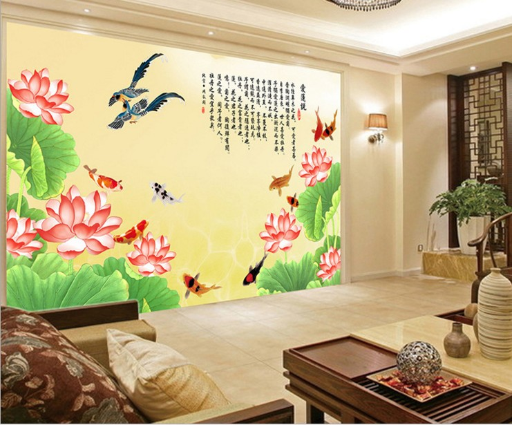 can customized Chinese style Abstract lotus large 3d mural wallpaper wall stickers waterproof bedroom Tv sitting room design customized home personalized seamless integration of the abstract paintings lotus wallpaper 1x3m