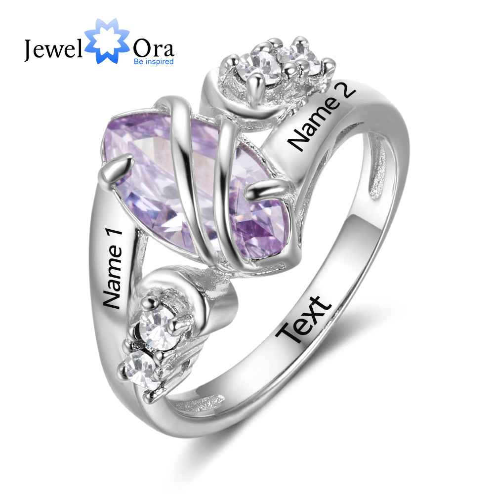 Custom Birthstone Ring Engrave Name Love Rings 925 Sterling Silver Party Rings For Women Free Gift Box ( JewelOra RI102739)Custom Birthstone Ring Engrave Name Love Rings 925 Sterling Silver Party Rings For Women Free Gift Box ( JewelOra RI102739)