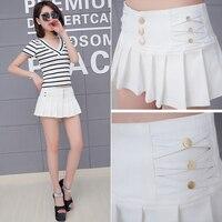 Hot Sell High Waist Pleated Skirt Shorts Women 2016 New Summer Style All Match Black White