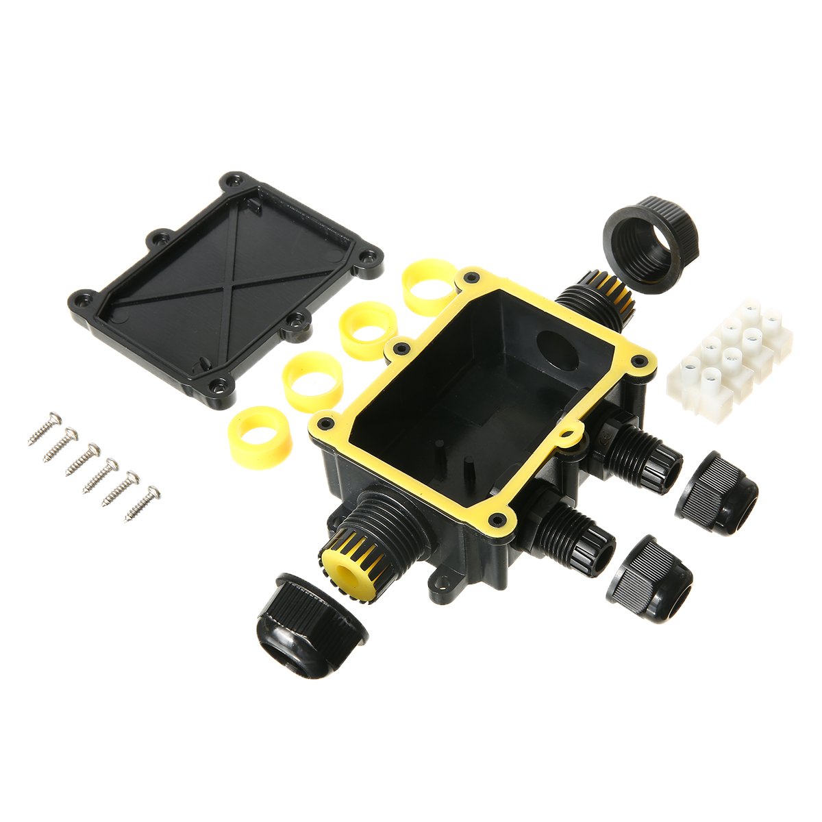 New 1pc Waterproof Junction Box Terminal 4 Way Underground Cable Protection Building Connectors IP68 For Street Lawn Flood Light