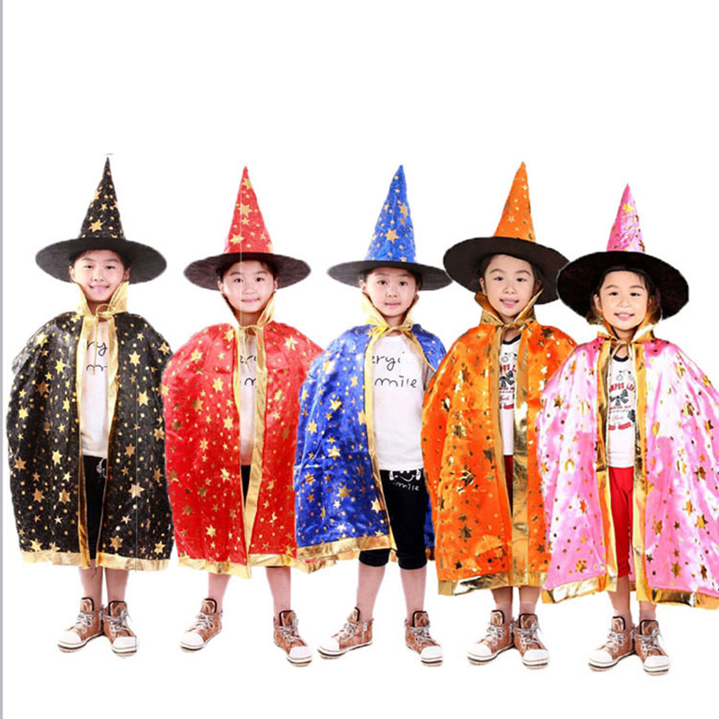 Discreet Boy Girl Kids Children Christmas Costumes Witch Wizard Cloak Cosplay With Hat Cap Stars New Year Fancy Dress Home