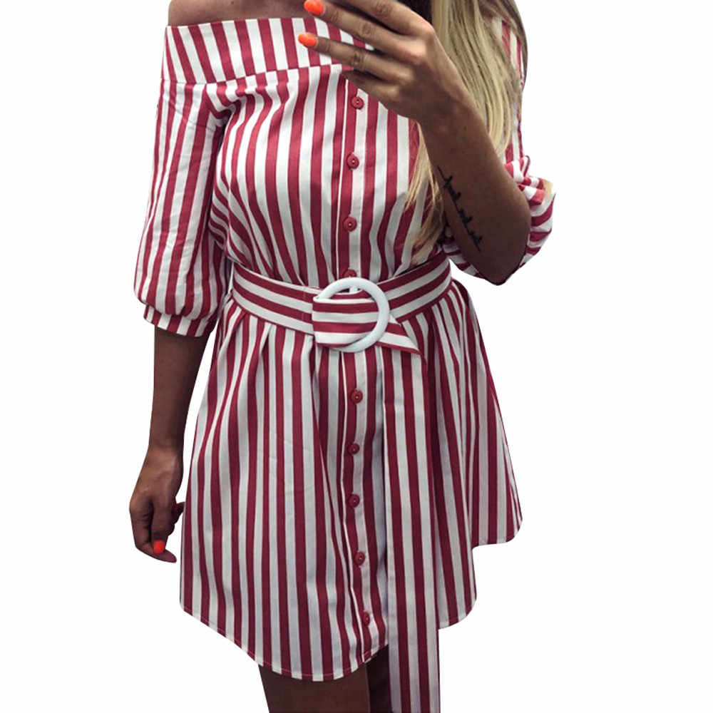 Women Summer Belt Striped 3/4 Sleeve Cold Off Shoulder Sexy Short  Dress Women Striped Off-Shoulder Cropped Sleeve Dress30H