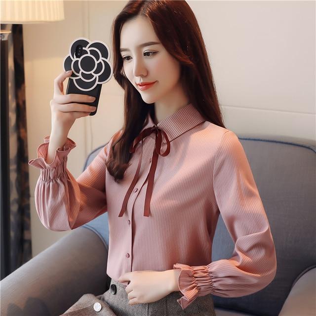b750b1d5d4 Moda 2018 mujeres rayas Blusa con mangas Rosa Blanco verde elegante mujer  Primavera Verano camisa para