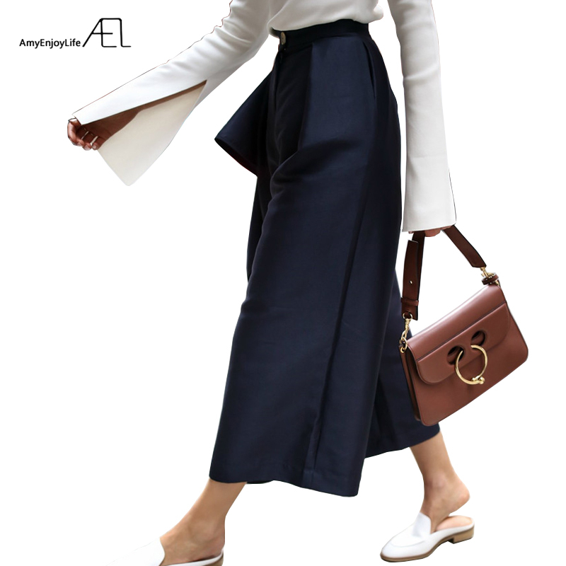 AEL Women s High Waist Wide Leg Pants Female Casual Bottoms Loose Type Lady Clothing 2018
