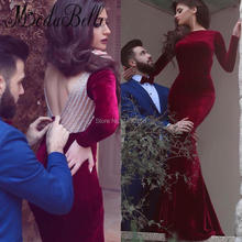 2017 Glamorous Samt Maroon Burgund Abendkleid Mit Open Back Long Sleeve Robe De Soiree Sirene Kristall Formale Kleid
