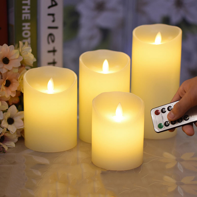 Flameless Battery Operated Led Candle Made By Paraffin Wax Remote Timer Function Wedding Event Decoration Christmas