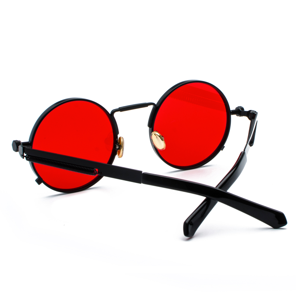 Peekaboo clear red sunglasses men steampunk 2019 metal frame retro vintage round sun glasses for women black uv400 2