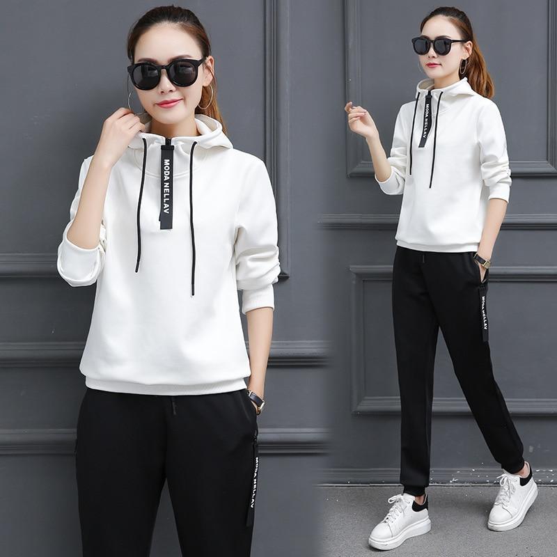 Plus Size M-3XL 2018 Autumn Winter 2 Piece Set Womens Sporting Suits Zipper Hoodies + Pants Sportswear Female Tracksuit