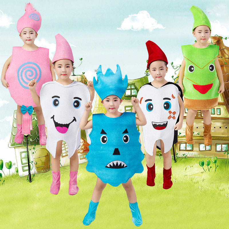 Children Teeth Tooth Bacteria Lollipop Costume Jumpsuit Kids Green Toothbrush Costume Clothing Clothes For Girl or Boy image