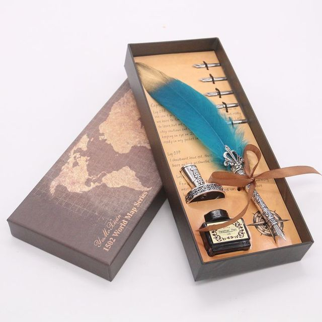 Luxury Calligraphy Feather Dip Pen Writing Ink Set Stationery Gift Box with 5 Nib Wedding Quill Pen Metal Fountain Pen Set 2