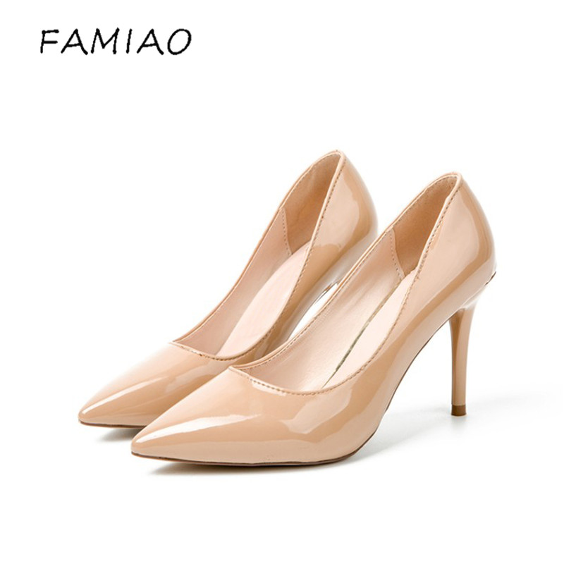 2017 Spring Autumn Fashion 10 cm 8 cm Pointed Toe High-Heeled Shoes Thin Heels Patent Leather Wedding Party Club Stiletto Shoes 2017 spring fashion 9 cm pointed toe high heeled shoes metal pearl decoration thin heels patent leather wedding party shoes