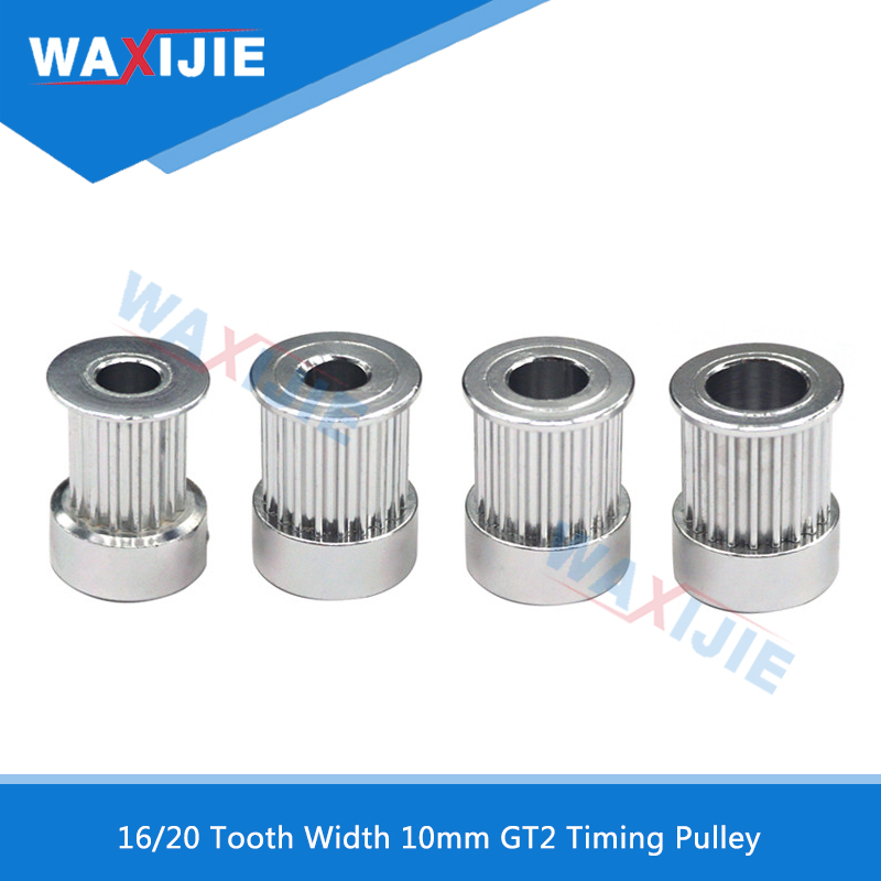 GT2 Timing Pulley 16Tooth 20Tooth Width 10mm Bore 5mm 6.35mm 8mm Aluminum Synchronous Gear For 3D Printer 2GT Belt Pulley Parts