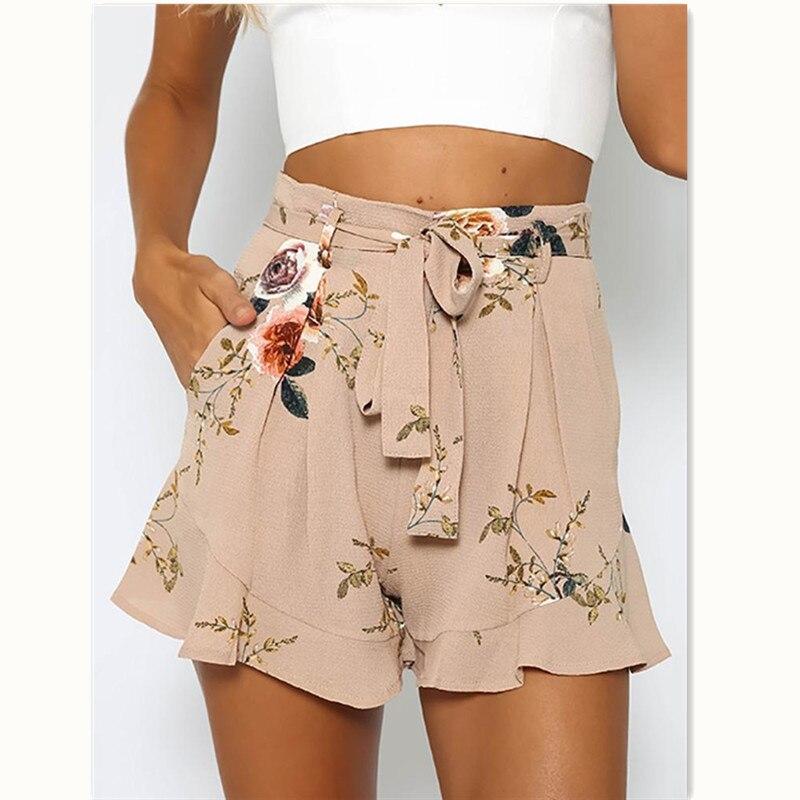 Summer Women Print Shorts Hot Women Shorts Casual Summer Print Flower Loose Lace Up High Waist Shorts