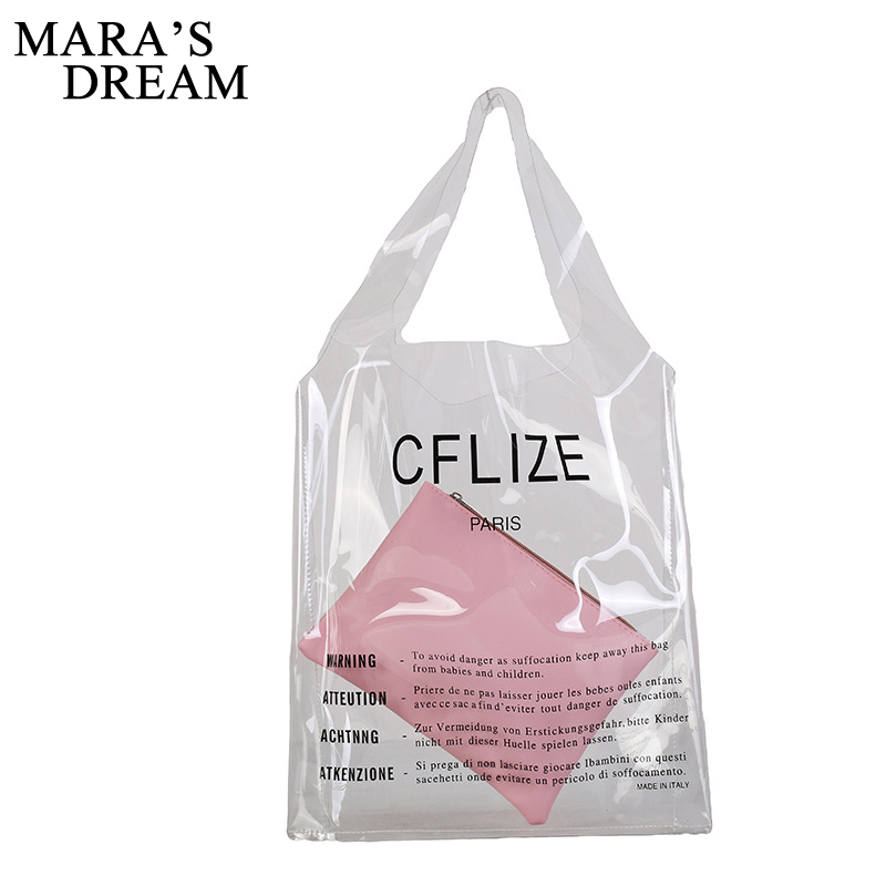 Maras Dream Girl Big Capacity PVC Handbag Transparent Shoulder Bag Women Summer Laser Candy Jelly Beach Tote Bag Shopping Bags