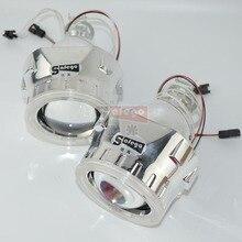 2.5 pulgadas bixenon lente del proyector + máscara cubierta con doble ángel para el coche Faros HID faros Lente Del Proyector para H1 H7 H4