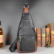 2016 Hot Genuine Leather Men Shoulder Bag Fashion Leather Mens Crossbody Bag Coffee Chest Pack Men Bags