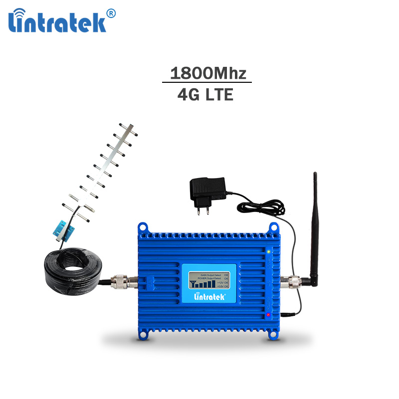Lintratek 70dBi 4G Signal Repeater 1800Mhz DCS Gsm 4g Lte Signal Booster 2g Cellphone Amplifier LCD Display Full Kit #8.6