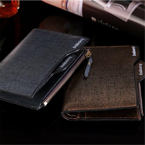 2019 Men Wallet High Quality PU Leather Card Holder Wallet Male Leather Coin Purse With Zipper Short Bifold Wallets for men NEW Pakistan
