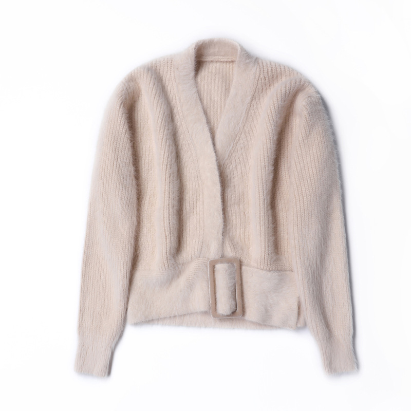 Vintage European Brand Women's Wear 2018 Autumn New Pure Color Sashes Rabbit Hair Knitted Sweater Beige Short Cardigan One Size - 5