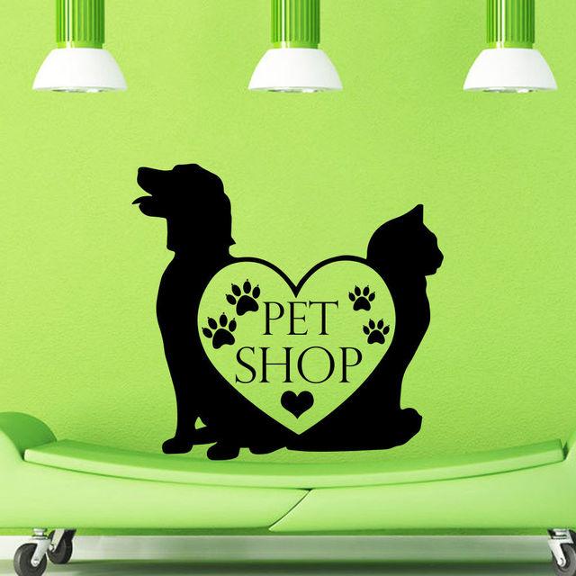 dctal pet shop vinyl wall decal pet shop sign dog cat mural art wall