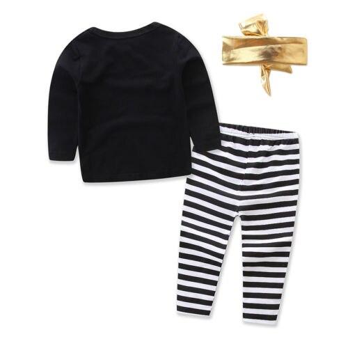 US Toddler Baby Girls Clothing Print Letter Long Sleeve T-shirt Tops+Long Pants Leggings+Headband Outfit