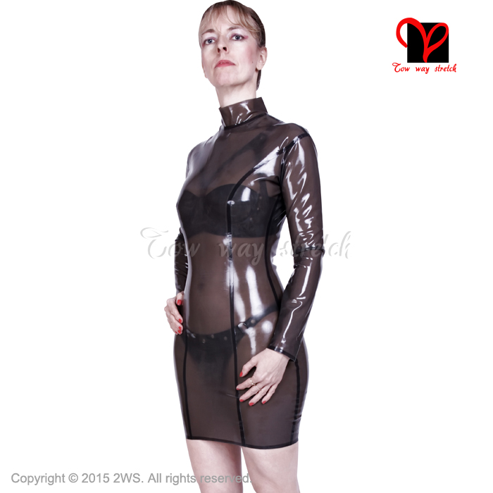 1886516bb Sexy Transparent long sleeves Latex Dress Rubber outfit Gummi Playsuit top  Bodycon Mini Rubber dress Uniform