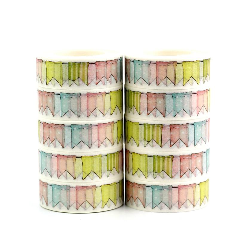 10 Pcs/Lot Cute Colorful Flags Washi Tapes Chevrons DIY Decor Scrapbooking Planner Adhesive Masking Tapes Kawaii Stationery