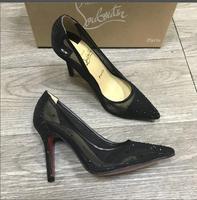 Brand red sole shinny women wedding shoes sexy lace rhinestone stiletto high heels pumps glitter bridal shoes 8cm 10cm heel