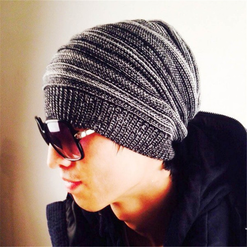 Men Hat Knitted Wool Boy Fashion Double-color Hip-hop Hats Adult Winter Warm Skull Knitted Woolen Caps wool felt cowboy hat stetson black 50cm