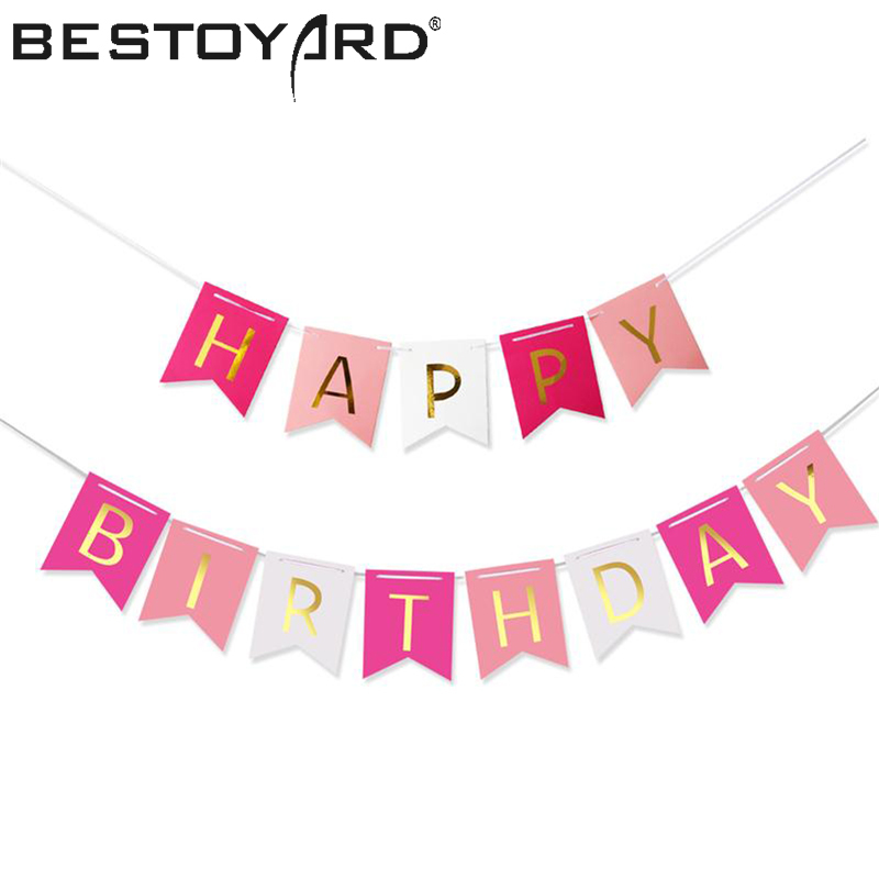 Colorful Happy Birthday Banner Party Flags Letters Shaped Bell Garland Flags For Kids Children Party Supplies Decorations hair dryer
