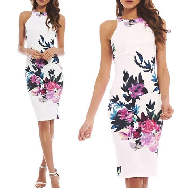 Elegant Women Dress Floral Slim Short Mini Dress Casual Summer Sundress S-XL